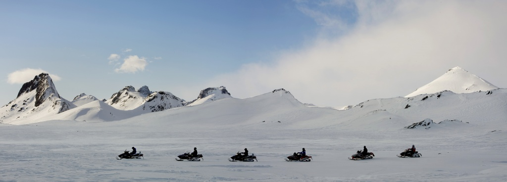 1 hour snowmobile tour express glacier views sunset when in iceland