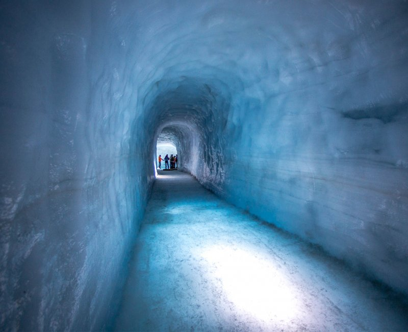 into the glacier ice cave