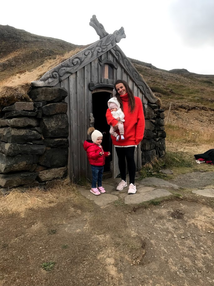turf house next to gruðrunarlaug hot spring in west Iceland