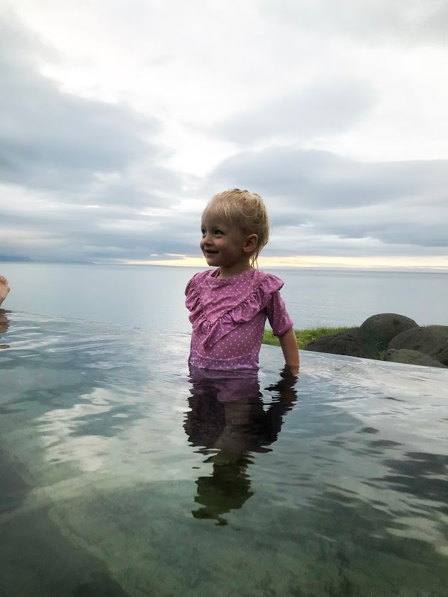 geosea natural baths in Húsavík north Iceland, hot spring in Iceland, baby swimming Iceland